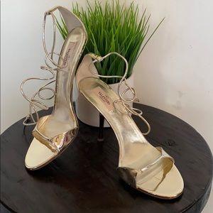 Valentino metallic lace up heels